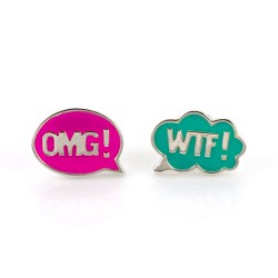 Chit Chat OMG! WTF! Stud Earrings