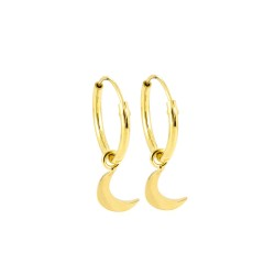Dainty Moon Hoop Earrings