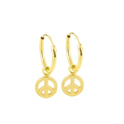 Dainty Peace Hoop Earrings