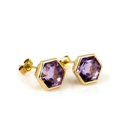 Promise Gem-Set Stud Earrings Amethyst