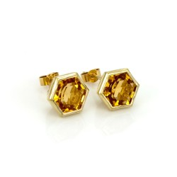 Hexagonal Gem-Set Stud Earrings Citrine
