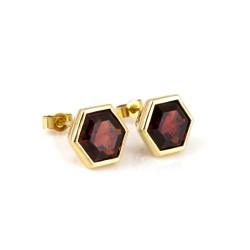 Promise Gem-Set Stud Earrings Garnet