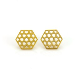 Hexagonal Lattice Stud Earrings
