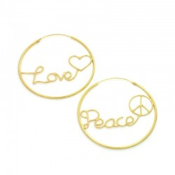 Written Love Peace Hoop Earrings