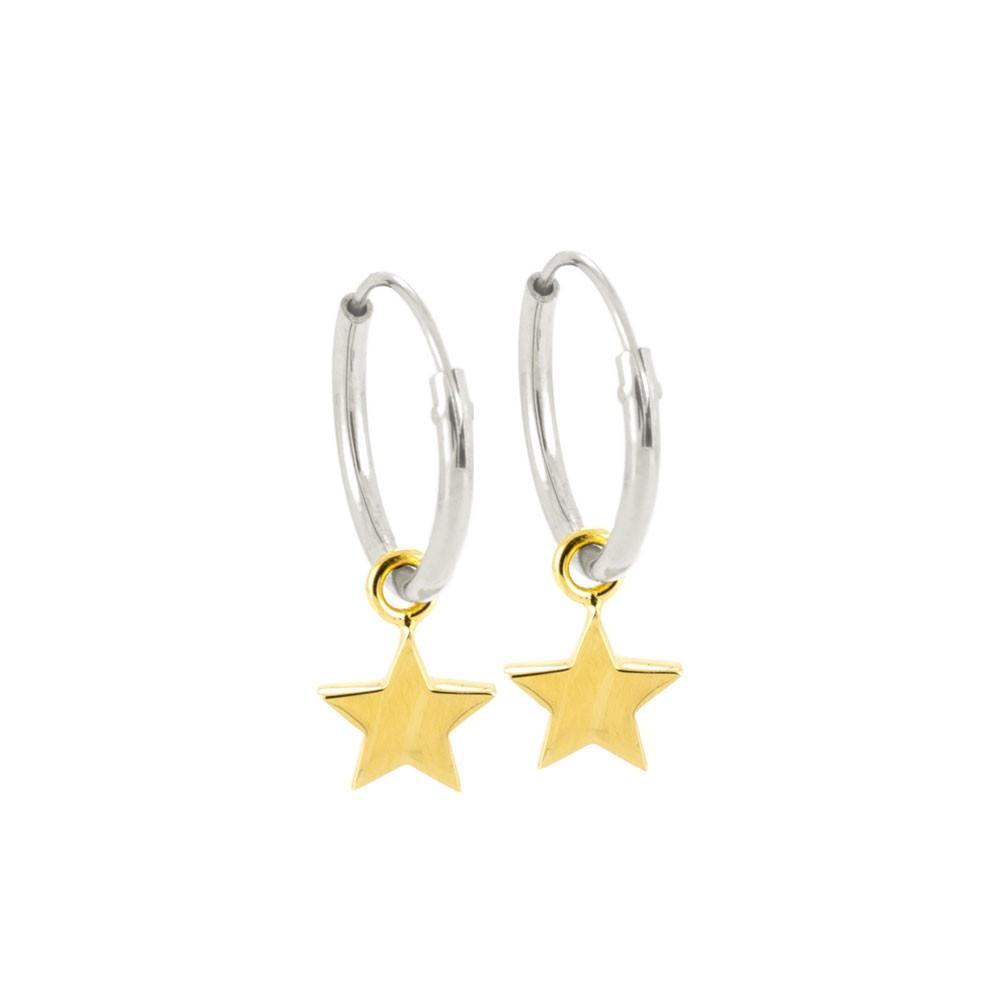 Laura Gravestock Jewellery Dainty Star Hoop Earrings