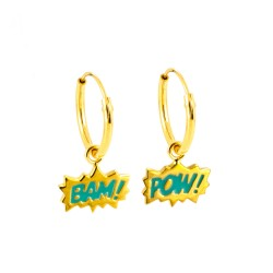 Dainty Bam! & Pow! Enamel Hoop Earrings