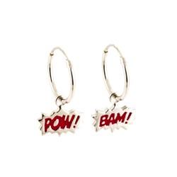 Dainty Bam! & Pow! Enamel Hoop Earrings