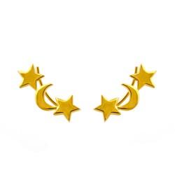 Dainty Moon & Star Ear Climber