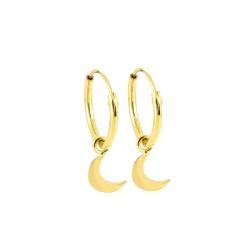 Dainty Moon Hoop Earrings