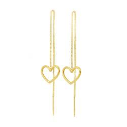 Heart Thread Through Earrings